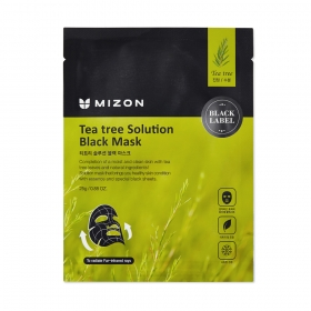 Mizon Teatree Solution Black Mask — kangasmask teepuuõli ja vulkaanilise tuhaga