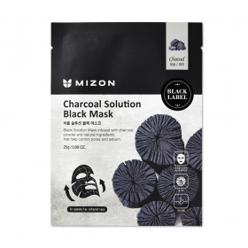 Mizon Charcoal Solution Black Mask - kangasmask puusöe ja vulkaanilise tuhaga
